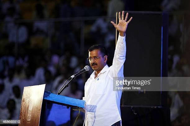 Delhi Chief Minister Arvind Kejriwal addressing during the ReLaunch of AntiCorruption Helpline 1031 at Talkatora Stadium on April 5 2015 in New Delhi...
