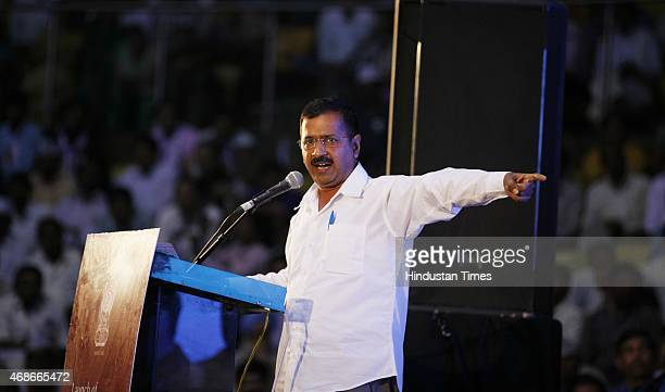 Delhi Chief Minister Arvind Kejriwal addressing during the ReLaunches AntiCorruption Helpline 1031 at Talkatora Stadium on April 5 2015 in New Delhi...