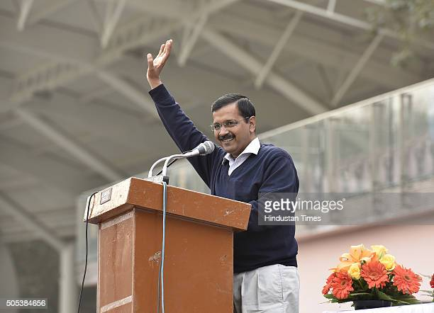 Delhi Chief Minister Arvind Kejriwal addressing thanksgiving rally following the success of his government's odd-even scheme at Chhatrasal Stadium on...