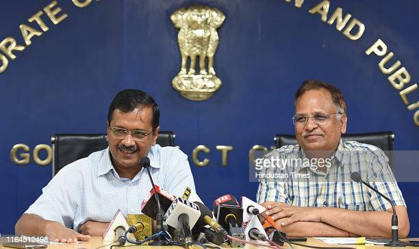 Delhi Chief Minister Arvind Kejriwal along with Delhi Health Minister Satyendra Kumar Jain during a press conference announcing a health campaign...