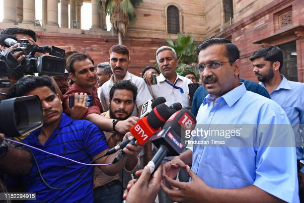 Delhi chief Minister Arvind Kejriwal along with Deputy chief minister Manish Sisodia speaks to media after meeting Union Finance Minister Nirmala...