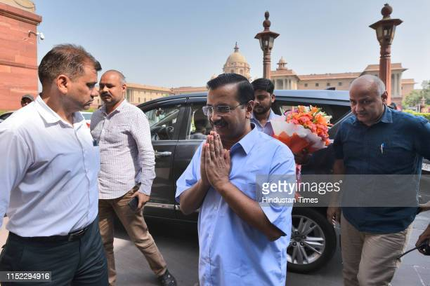 Delhi chief Minister Arvind Kejriwal along with Deputy chief minister Manish Sisodia arrive to meet Union Finance Minister Nirmala Sitharaman at...