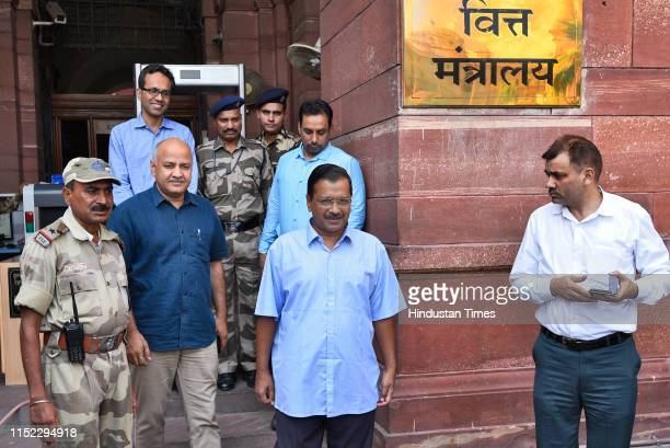 Delhi Chief Minister Arvind Kejriwal along with Deputy chief minister Manish Sisodia coming out from Ministry of Finance after meeting Union Finance...