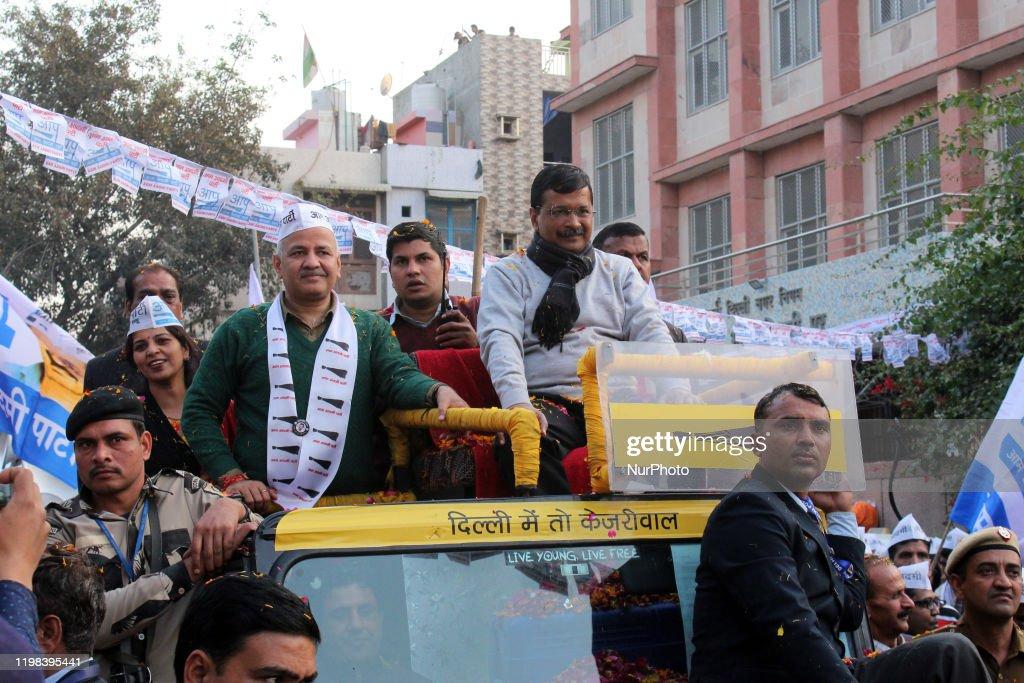 Delhi Chief Minister Arvind Kejriwal's Road Show In New Delhi : News Photo