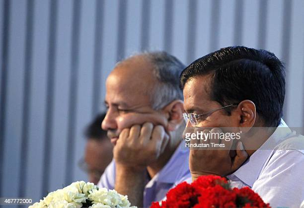 Delhi Chief minister Arvind Kejriwal along with Deputy Chief Minister Manish Sisodia and Asim Ahmed Khan minister of Delhi Food and Civil Supply...