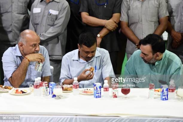 Delhi Chief Minister Arvind Kejriwal along with Deputy chief minister Manish Sisodia Gopal Ra and other Aam Aadmi Party MLA's attend an Iftar party...