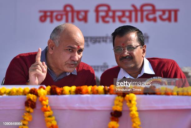 Delhi chief minister Arvind Kejriwal and Deputy chief minister Manish Sisodia in conversation during the foundation stone laying event at Sarvodaya...