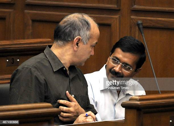 Delhi Chief Minister Arvind Kejriwal and Deputy Chief Minister Manish Sisodia during the Delhi Assembly session at Delhi Vidhan Sabha on March 25...