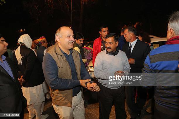 Delhi Chief Minister Arvind Kejriwal and Deputy Chief Minister Manish Sisodia at the wedding reception of Union Minister Nitin Gadkari's daughter...