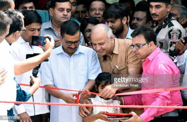 Delhi Chief Minister Arvind Kejriwal and Deputy Chief Minister Manish Sisodia inaugurate the swimming pool in Annie Besant Sarvodaya Kanya Vidyalaya...