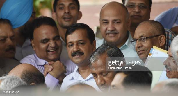 Delhi Chief Minister Arvind Kejriwal and Deputy CM Manish Sisodia after swearing in ceremony of the new president Ram Nath Kovind at Parliament House...