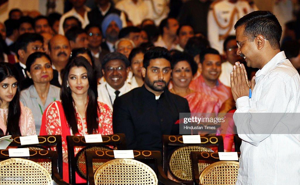 Delhi Chief Minister Arvind Kejriwal arrives as Amitabh Bachchan`s granddaughter Navya Naveli Nanda actor Abhishek Bachchan and Aishwarya Rai...