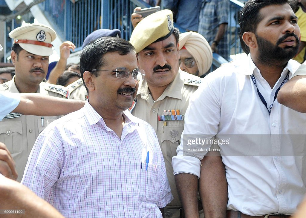 Delhi Chief Minister Arvind Kejriwal arrives at Ludhiana Railway Station on September 8 2016 in Ludhiana India