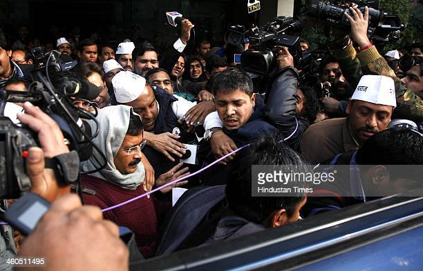 Delhi Chief Minister Arvind Kejriwal arrives to attend the Aam Aadmi Party's National Executive meeting on January 4 2014 in New Delhi India AAP will...