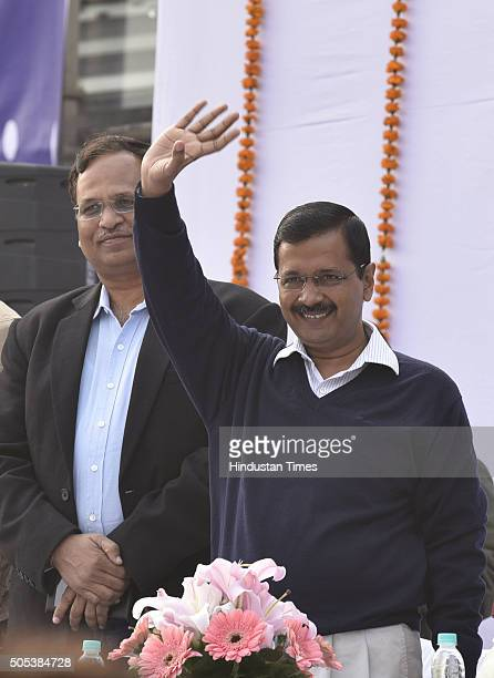 Delhi Chief Minister Arvind Kejriwal at thanksgiving rally following the success of his government's oddeven scheme at Chhatrasal Stadium on January...