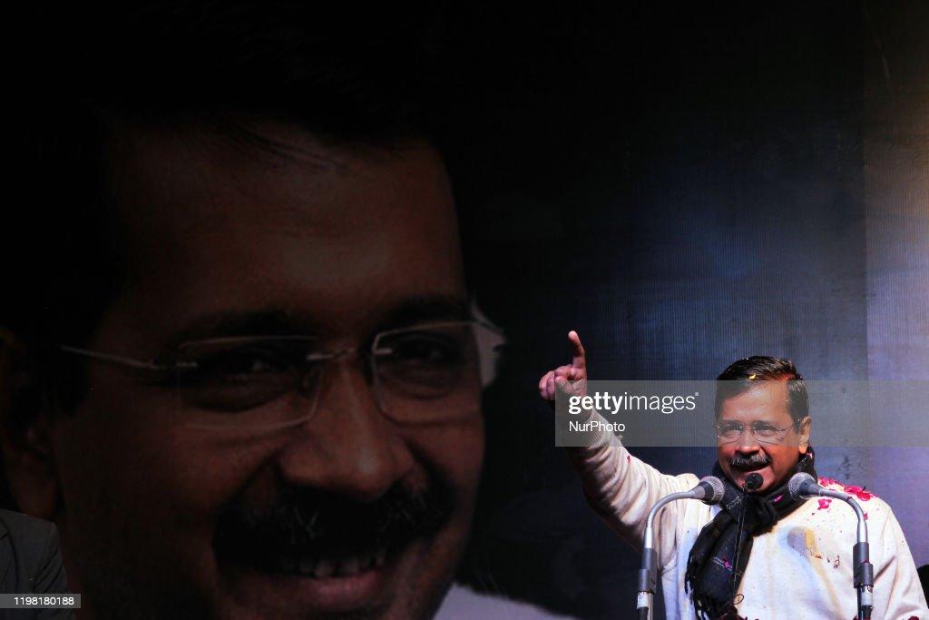 Delhi Chief Minister Arvind Keriwal Campaigns Ahead Of Delhi Vidhan Sabha Elections : News Photo
