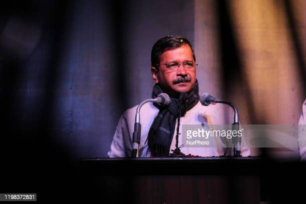 Delhi Chief Minister Arvind Kejriwal campaigns during a Jan Sabha ahead of Delhi Assembly Elections at Ghazipur, Vishwas Nagar on February 2, 2020 in...