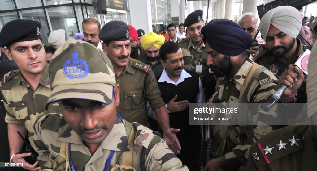 Delhi Chief Minister Arvind Kejriwal coming out side for Chandigarh Airport with heavy security on November 15 2017 in Chandigarh India As Delhi's
