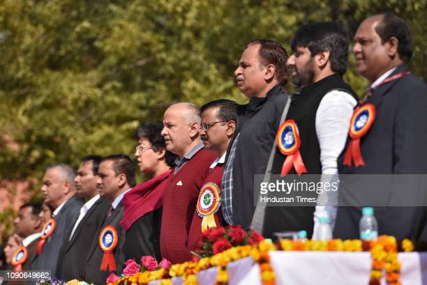 Delhi chief minister Arvind Kejriwal Deputy chief minister Manish Sisodia and other Aam Aadmi Party MLAs during the foundation stone laying event at...