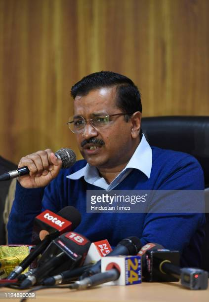 Delhi Chief Minister Arvind Kejriwal during a press conference after the Supreme Court delivered its judgment on division of powers at his official...