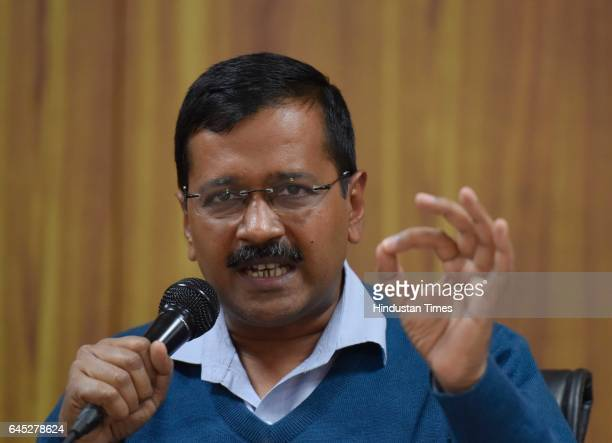 Delhi Chief Minister Arvind Kejriwal during a press conference at CM residence on February 25 2017 in New Delhi India Kejriwal moved the Delhi High...