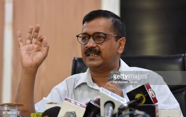 Delhi Chief Minister Arvind Kejriwal during a press conference at his official residence at Civil Lines over IAS officers strike on June 11 2018 in...