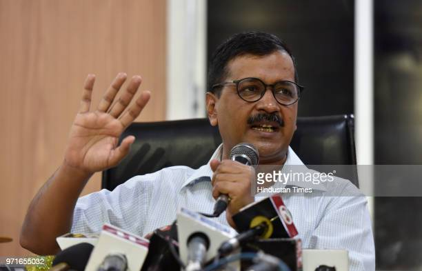 Delhi Chief Minister Arvind Kejriwal during a press conference at his official residence at Civil Lines over IAS officers strike on June 11, 2018 in...