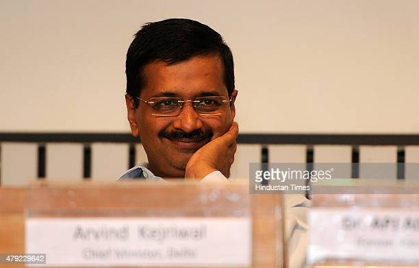 Delhi Chief Minister Arvind Kejriwal during an interaction program with a gathering of principals and teachers at Delhi Secretariat on July 2 2015 in...
