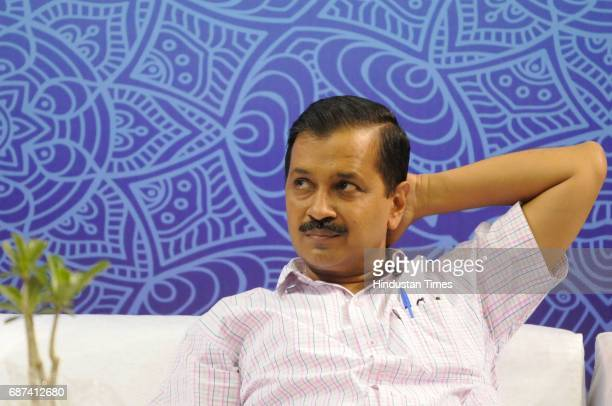Delhi Chief Minister Arvind Kejriwal during an interaction session with government school students who qualified Joint Entrance Examination JEE 2017...