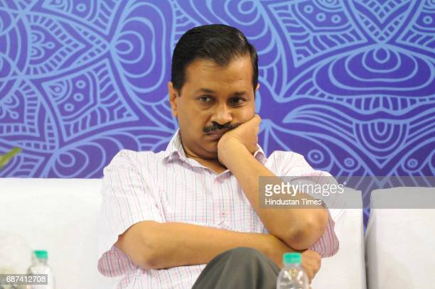 Delhi Chief Minister Arvind Kejriwal during an interaction session with government school students who qualified Joint Entrance Examination, JEE...