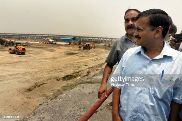 Delhi chief minister Arvind Kejriwal during his visit to Coronation Sewage Treatment Plant at Burari on July 10 2018 in New Delhi India After the...