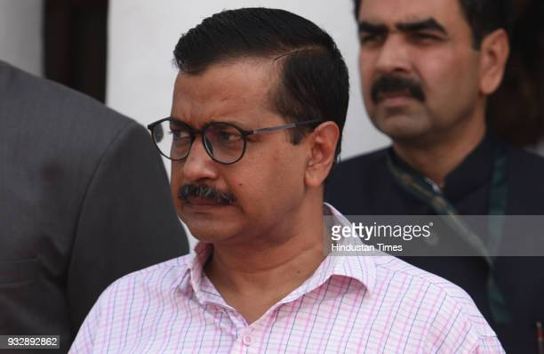 Delhi Chief Minister Arvind Kejriwal during the budget session at Delhi Vidhan Sabha on March 16 2018 in New Delhi India