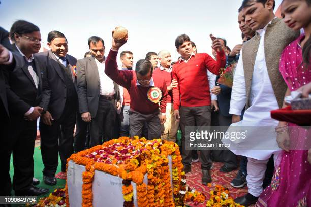Delhi chief minister Arvind Kejriwal during the foundation stone laying event at Sarvodaya Kanya Vidyalaya on January 28 2019 in New Delhi India...