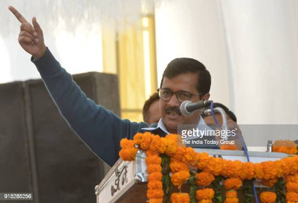 Delhi Chief Minister Arvind Kejriwal during the inauguration ceremony of the rehabilitation work of sewer lines project in New Delhi.