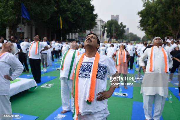 Delhi Chief Minister Arvind Kejriwal during the International Day of Yoga celebrations at Connaught Place, on June 21, 2017 in New Delhi, India.