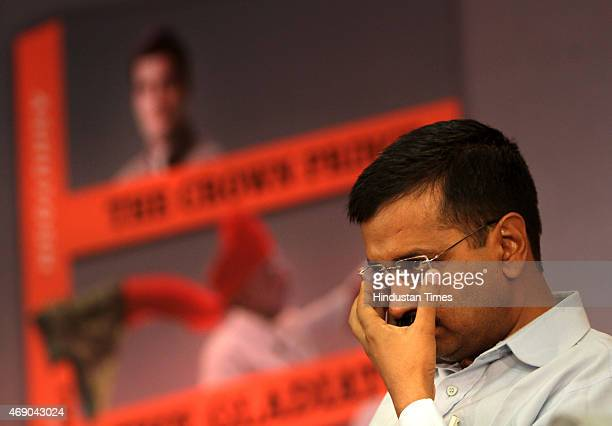 Delhi Chief Minister Arvind Kejriwal during the launch of AAP leader Ashutosh's book titled 'The Crown Prince The Gladiator and The Hope at India...