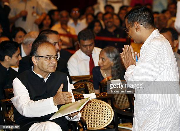 Delhi Chief Minister Arvind Kejriwal greets Union Finance minister Arun Jaitley during the Padma awards ceremony at Rashtrapti Bhawan on April 8 2015...