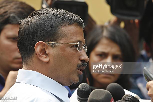 Delhi Chief Minister Arvind Kejriwal interacts with media personnel after meeting with Lieutenant Governor of Delhi Najeeb Jung to discuss the law...