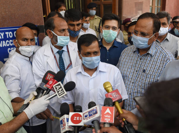 IND: Delhi Chief Minister Arvind Kejriwal Interacts With Media At LNJP Hospital