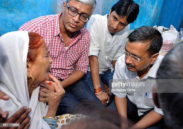 Delhi Chief Minister Arvind Kejriwal meets the family of Mohammad Akhlaq who was killed and his son was critically injured by a mob over an...