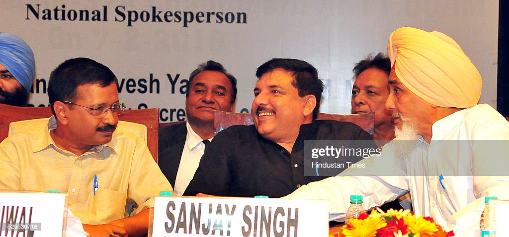 Delhi Chief Minister Arvind Kejriwal National Spokesperson Sanjay Singh and Sucha Singh Chhotepur during Lawyers Induction Program organised by Bar...