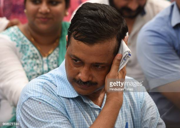 Delhi Chief Minister Arvind Kejriwal sits on dharna in front of residence of Lt Governor Anil Baijal to discuss the acrimony over the issue of...
