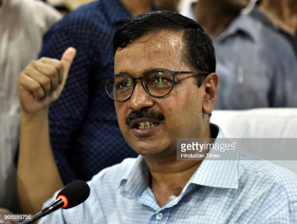 Delhi chief minister Arvind Kejriwal speaks during a press conference after his visit to the Coronation Sewage Treatment Plant at Burari on July 10...
