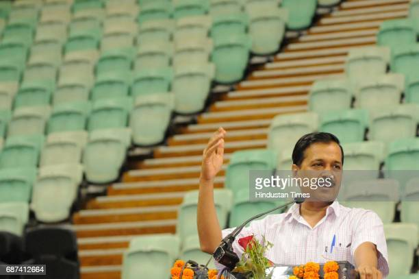 Delhi Chief Minister Arvind Kejriwal speaks during an interaction session with government school students who qualified Joint Entrance Examination...
