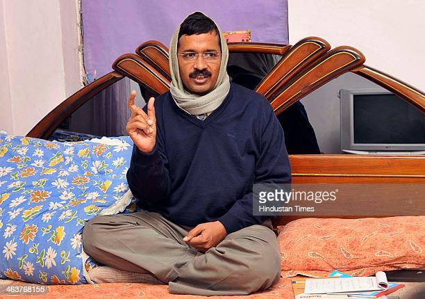 Delhi Chief Minister Arvind Kejriwal speaks during an interview with Hindustan Times at his Kaushambi residence, on January 18, 2014 in Ghaziabad,...