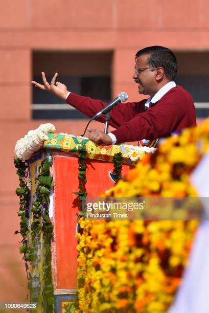Delhi chief minister Arvind Kejriwal speaks during the foundation stone laying event at Sarvodaya Kanya Vidyalaya on January 28 2019 in New Delhi...