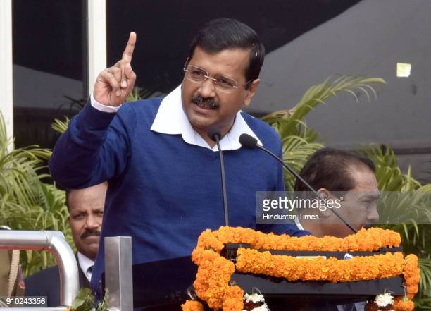 Delhi Chief Minister Arvind Kejriwal speaks during the state level Republic Day 2018 celebration at Chhatrasal Stadium on January 25 2018 in New...