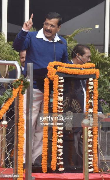 Delhi Chief Minister Arvind Kejriwal speaks during the state level Republic Day 2018 celebration at Chhatrasal Stadium on January 25, 2018 in New...