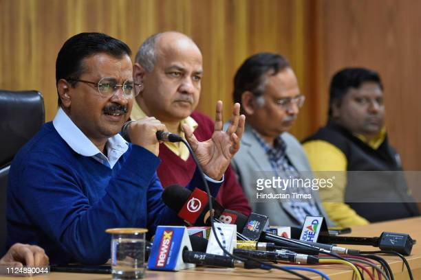 Delhi Chief Minister Arvind Kejriwal with Deputy Chief Minister Manish Sisodia during a press conference after the Supreme Court delivered its...