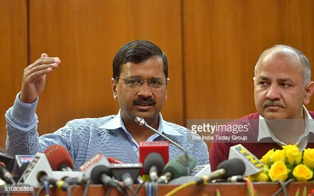Delhi Chief Minister Arvind Kejriwal with Deputy CM Manish Sisodia during a Press Conference in New Delhi